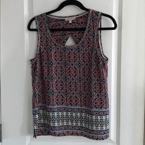 Navy and coral printed sleeveless top M